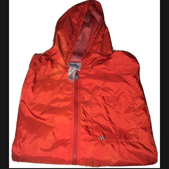 Vintage XL Adidas Full Zip Red Windbreaker